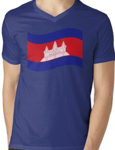 Cambodian Khmer Flag Wave Mens V-Neck T-Shirt