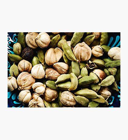 Green cardamom seeds close-up Photographic Print