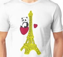 Panda takes a visit to the eiffel tower Unisex T-Shirt