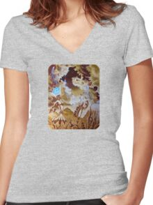 A Journey Begins, Surreal Female Figure Women's Fitted V-Neck T-Shirt