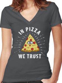 Pizza Illuminati Funny All Seeing Eye Food Humor slice  Women's Fitted V-Neck T-Shirt
