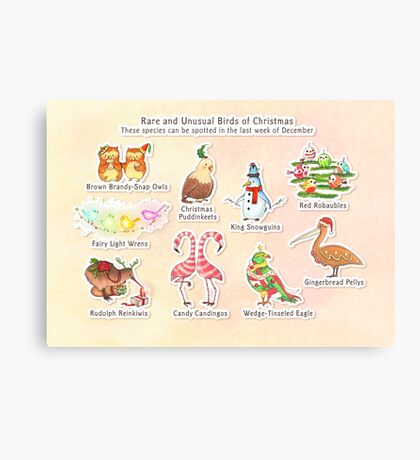 Rare and Unusual Birds of Christmas Canvas Print