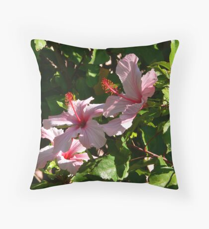 Hibiscus Blossoms Throw Pillow