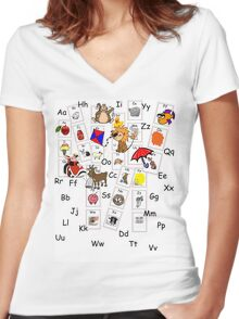 Alphabet Tee Women's Fitted V-Neck T-Shirt