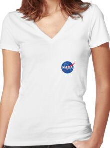 Nasa logo at the chest Women's Fitted V-Neck T-Shirt