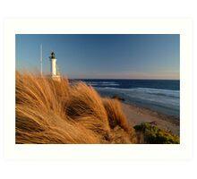 Wind Blown Grasses, Pt Lonsdale Lighthouse Art Print