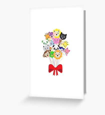 funny balloons colored animals Greeting Card