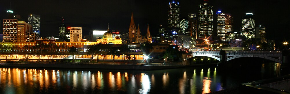 Melbourne widescape at night by rick strodder