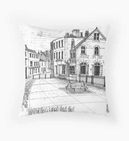 Windsor Eton pedestrian bridge - pen and ink sketch Throw Pillow