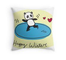 Skating panda  Throw Pillow