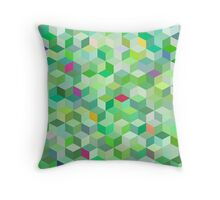 Green Cubes Throw Pillow