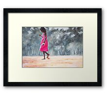 Girl in a Pink Dress Framed Print