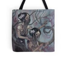 collecting silk from crystal spiders Tote Bag
