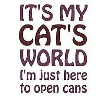 Its My Cats World - I Just Open Cans Photographic Print