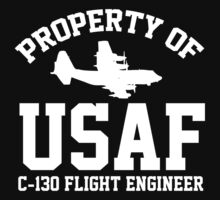 Property of USAF C-130 FLIGHT ENGINEER T-Shirt and Accessories by Albany Retro