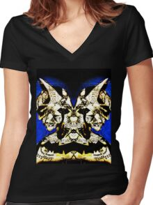 Mirrored Bat Women's Fitted V-Neck T-Shirt