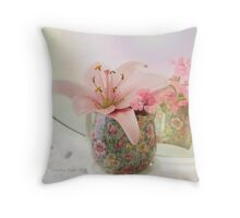 Pink Lily Rainbow Throw Pillow