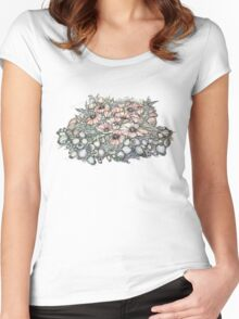 Poppies.Hand draw  ink and pen, Watercolor, on textured paper Women's Fitted Scoop T-Shirt