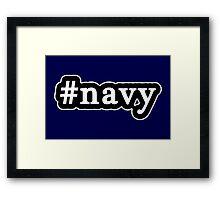 Navy - Hashtag - Black & White Framed Print