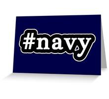 Navy - Hashtag - Black & White Greeting Card