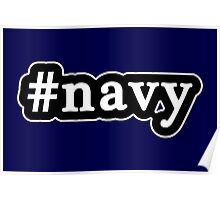 Navy - Hashtag - Black & White Poster