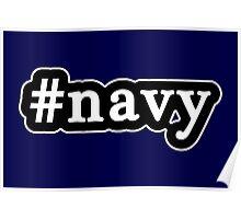 Navy - Hashtag - Black & White Poster