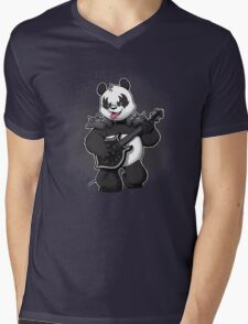 Heavy Metal Panda Mens V-Neck T-Shirt