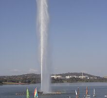 Captain Cook Memorial Fountain, Lake Burley Griffin by Cliff Manley