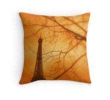 Eiffel orange Throw Pillow