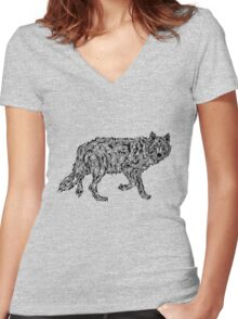 """Wolf Spirit"" - surreal tribal totem animal Women's Fitted V-Neck T-Shirt"