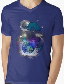 Cosmic geometric peace Mens V-Neck T-Shirt