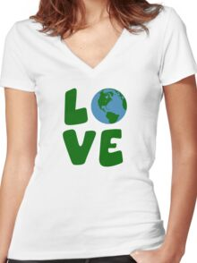 Love the Mother Earth Planet Women's Fitted V-Neck T-Shirt