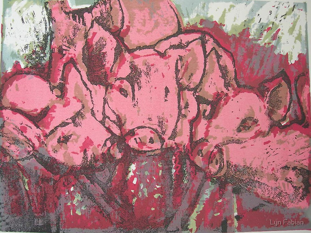 Piglets 2 by Lyn Fabian