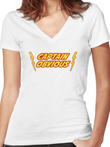 Captain Obvious Superhero Women's Fitted V-Neck T-Shirt