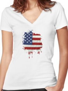 United States Flag Paint Splatter Women's Fitted V-Neck T-Shirt