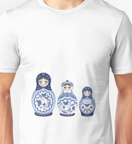 Blue matryoshka doll family Unisex T-Shirt