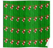 Christmas Socks on Green Wood Texture Pattern Poster