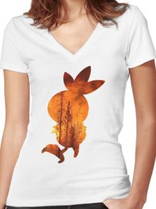 Torchic used Overheat Women's Fitted V-Neck T-Shirt