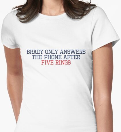 Brady Only Answers The Phone After Five Rings (Navy/Red) Womens Fitted T-Shirt