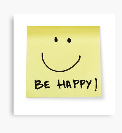 Be happy post-it note Canvas Print