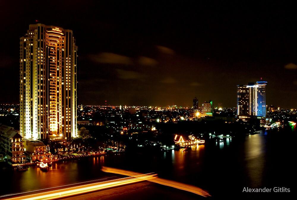 Night View of Chaopraya River by Alexander Gitlits