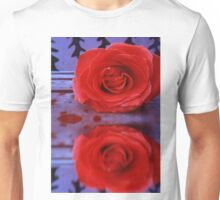 Red Rose on Wooden Background Unisex T-Shirt