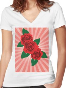 Red roses 2 Women's Fitted V-Neck T-Shirt