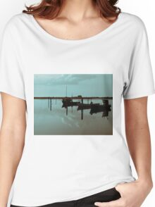 Magical reflection of a small dinghy dory boats Women's Relaxed Fit T-Shirt
