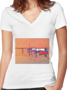 Magical reflection of a small dinghy dory boats Women's Fitted V-Neck T-Shirt