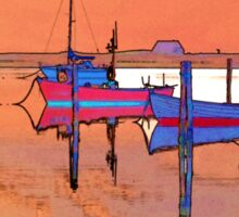 Magical reflection of a small dinghy dory boats Sticker