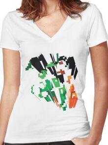8bit Explode Women's Fitted V-Neck T-Shirt