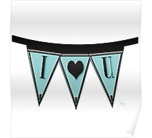 Manhattan 1920s Deco Blues Banner…I LOVE YOU  Poster