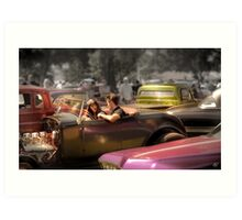 Portrait of a Hot Rod Couple Art Print