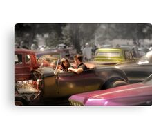 Portrait of a Hot Rod Couple Metal Print